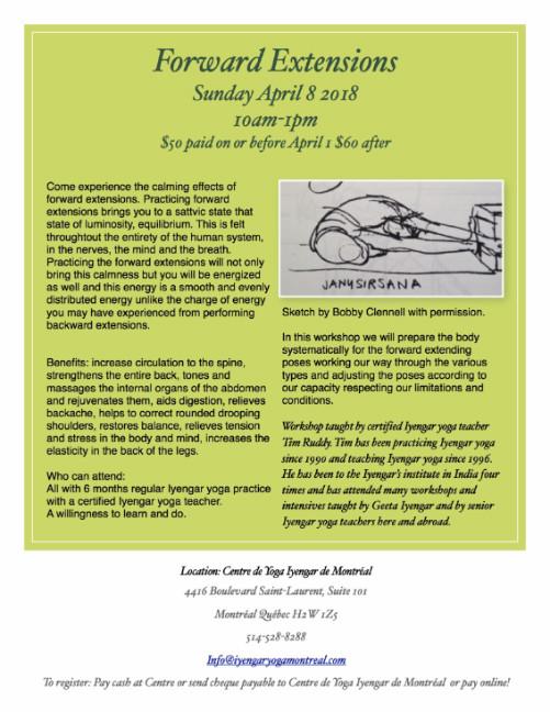 Forward Extensions Workshop Sunday April 8 10am-1pm at Centre de Yoga Iyengar de Montréal