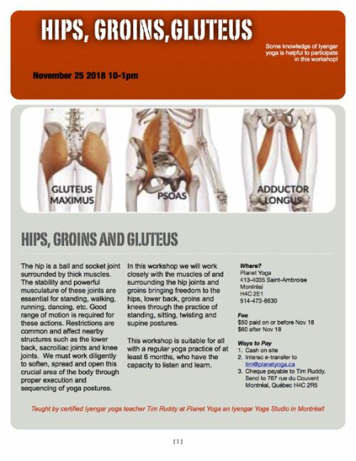 Hips, Groins, Gluteus Workshop Sun Nov 25 10-1pm $50/$60